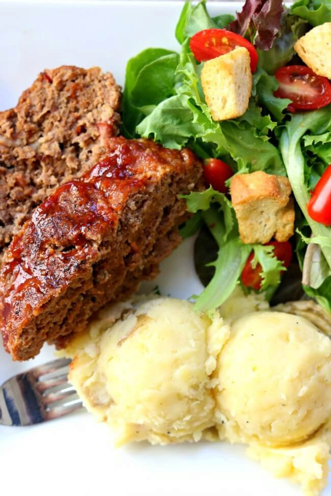 Instant Pot Bacon Barbecue Meatloaf with Mashed Potatoes