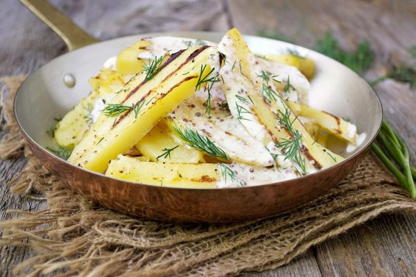 Grilled Potato Salad with Creme Fraiche Grainy Mustard Dressing