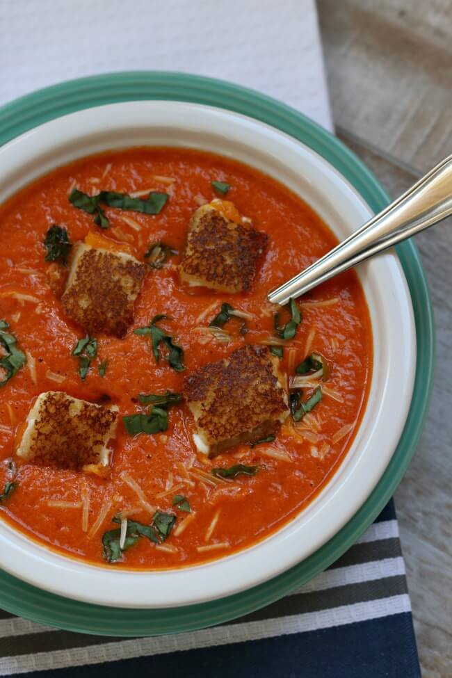 Mini Cream Cheese Grilled Cheese Croutons with Roasted Red Pepper Soup