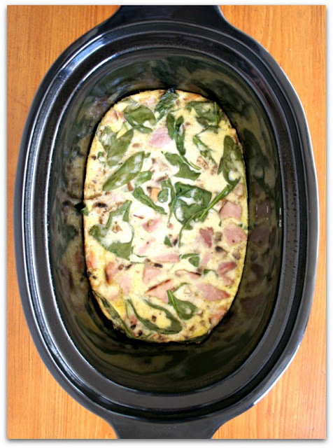 Recipe for Slow Cooker Egg, Spinach and Ham Breakfast Casserole